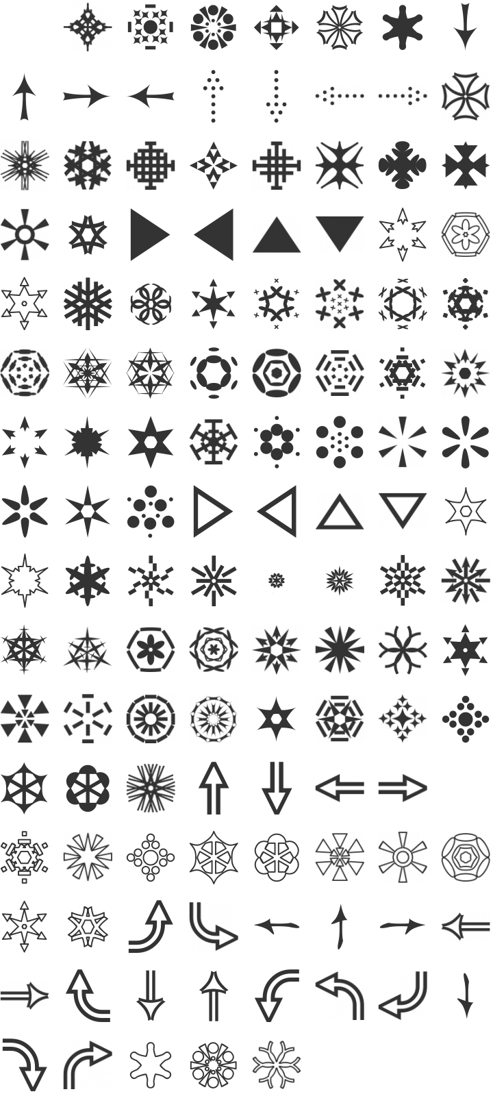 Rhomus Omnilots Dingbat Font Specimen