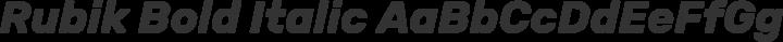 Rubik Bold Italic free font