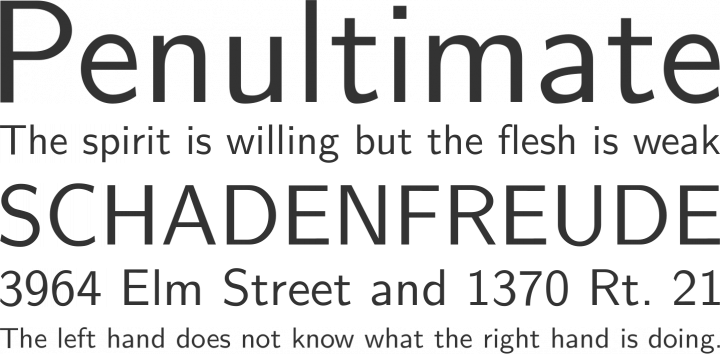 Latin Modern Sans Font Phrases
