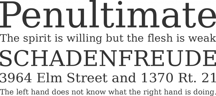 DejaVu Serif Font Phrases