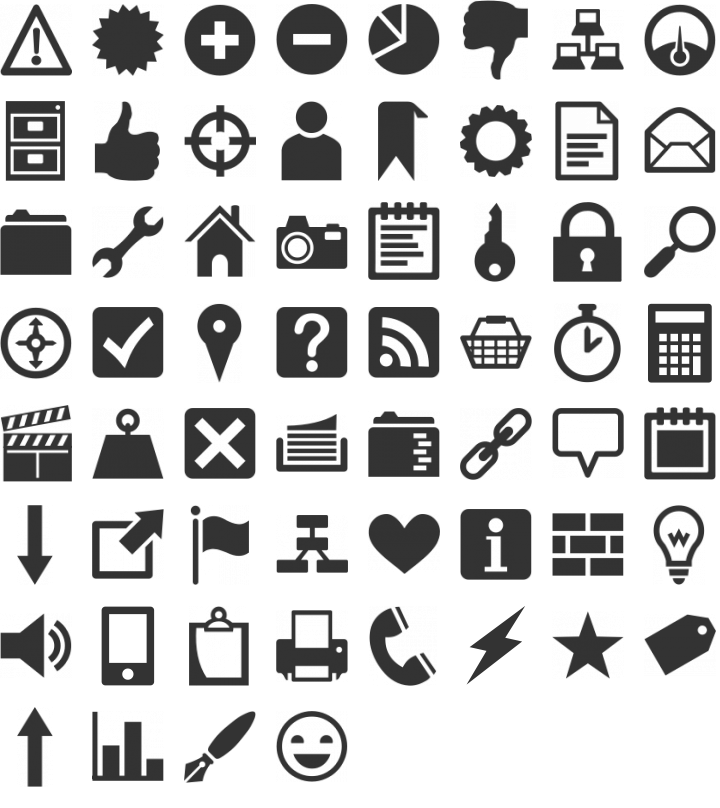 Heydings Common Icons Dingbat Font Specimen