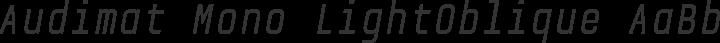 Audimat Mono LightOblique free font